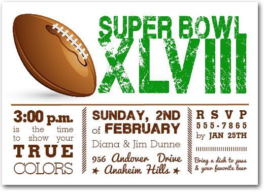 Football Super Bowl Invitations Super Bowl Xlviii Party