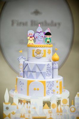 """""""My son's 1st birthday cake -- """"Its a small world"""" theme. I had a specific design in mind, CC made it come to life! Thanks CC!!"""" 
