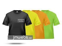 Camisetas Técnicas Deportivas personalizadas con estampación en vinilo de corte y/o impresión en Barcelona. Por delante y/o detrás medidas 10x10 y/o 25x25cm. Colores: Naranja Flúor, Verde Flúor, Amarillo Flúor, Negras. Precios en www.jmwebs.com - Teléfono: 935160047