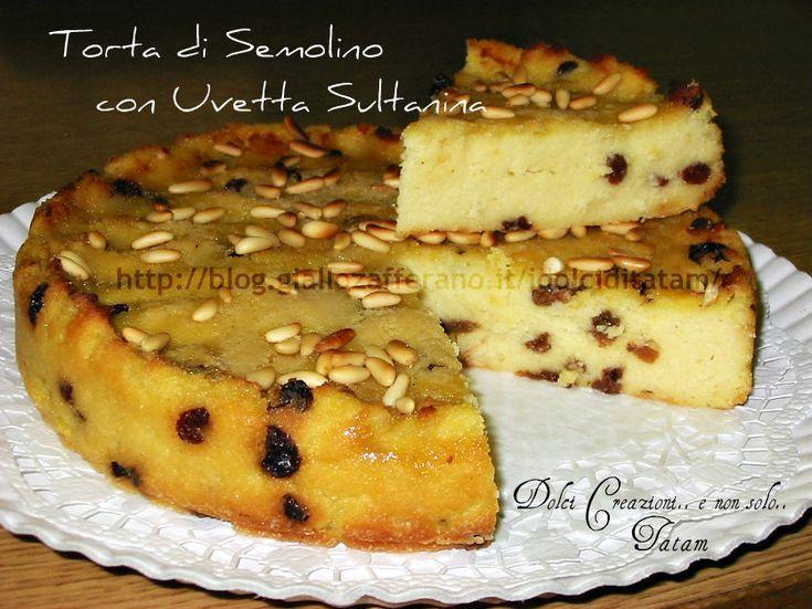 Torta di Semolino con Uvetta Sultanina e Pinoli Torta di Semolino con Uvetta Sultanina e Pinoli: una torta deliziosa e particolare che ha una consistenza