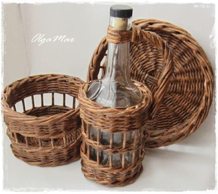 """Купить Плетеный набор для кухни """"Мокко"""" - коричневый, деревенский стиль, деревня, для уюта, уютная кухня"""