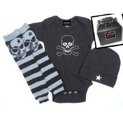 Punk baby clothes with skull leg warmers!