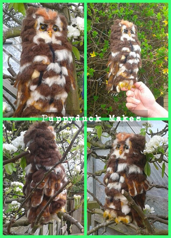 Needle Felt Life Sized Owl by PuppyduckMakes on Etsy