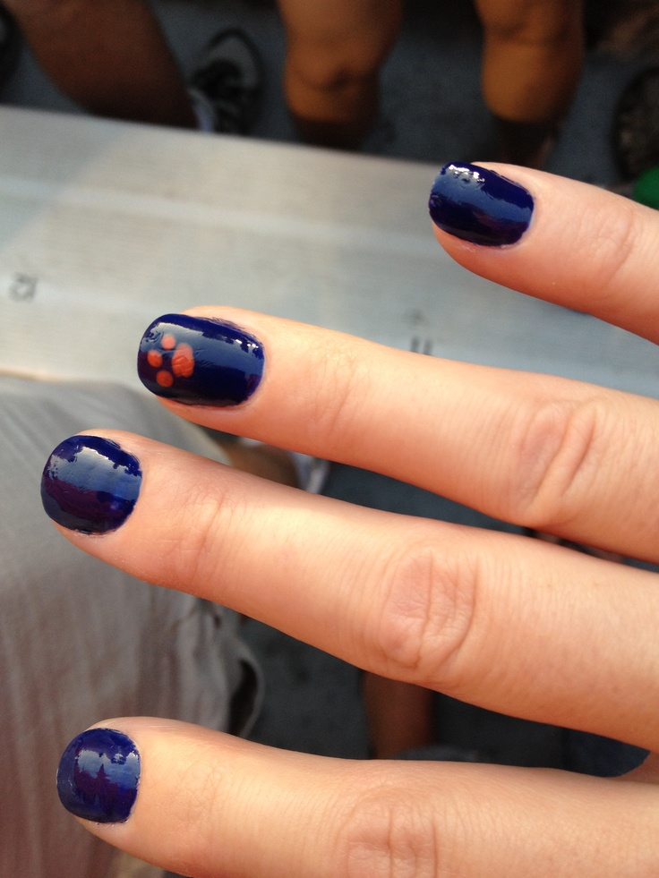 Auburn football nail art!  I'm so doing this for the ADay game!