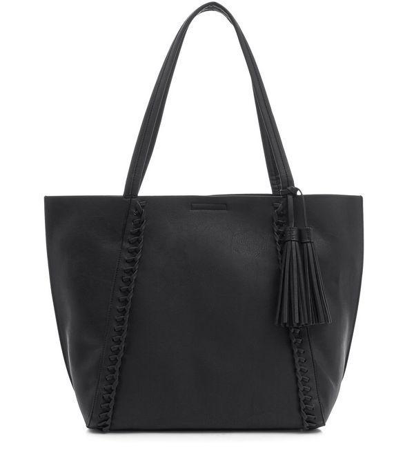 Black Plaited Seam Shopper Bag   New Look