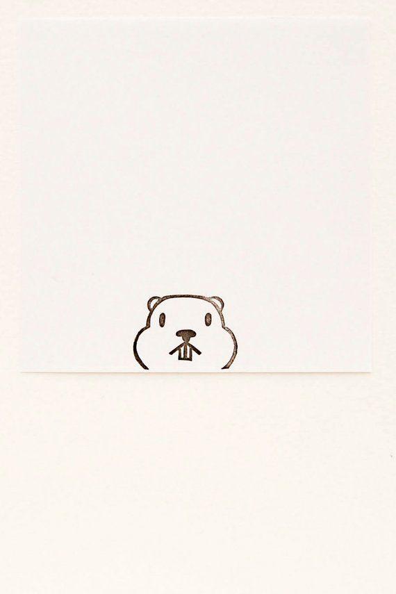 Groundhog stamp, groundhog day gift, peekaboo stamp, animal stamps, funny animal stamp, handmade stamps, cute stationary