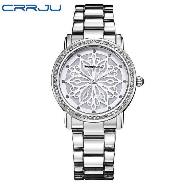 Luxury Brand Women Watch CRRJU Stainless Steel Quartz Dress watch waterproof Casual Diamond wristwatch Female relogio feminino