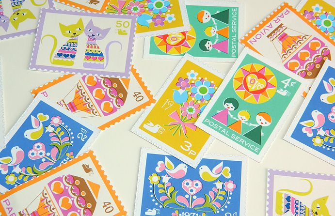 Vintage-inspired printable postage stamps! Play post office with your kiddos, embellish your packages or use in your paper craft. PNG & PDF files included.