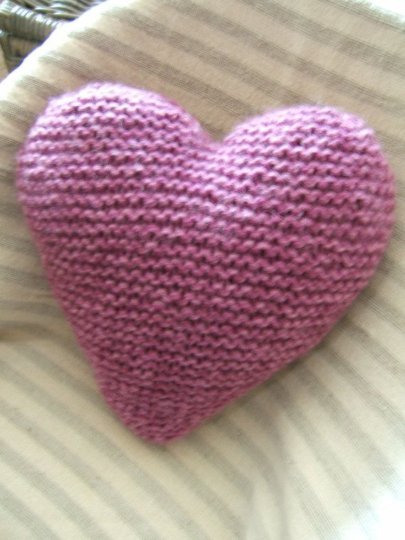 Knitting Pattern Heart Cushion : Knitted Heart Cushion / Pillow Medium