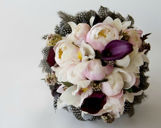 Great Winter Wedding bouquet with feathers, deep plum calla lillies, white and pink peonies.