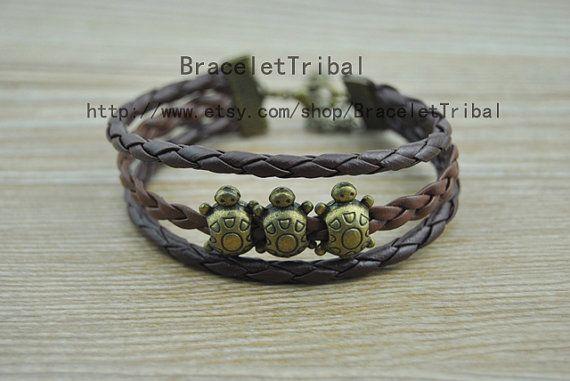 Cute Little Turtle Bracelet Retro Style Bracelet by BraceletTribal, $2.99 Fashion handmade leather bracelet