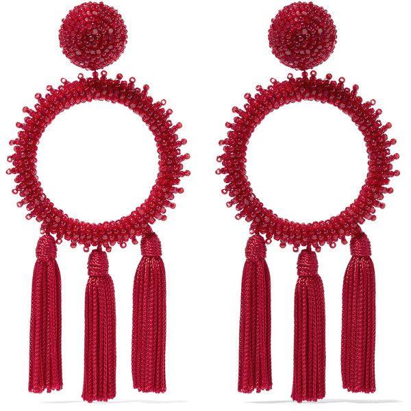 Oscar de la Renta Tasseled beaded clip earrings (945 NZD) ❤ liked on Polyvore featuring jewelry, earrings, clip back earrings, beads jewellery, clip earrings, beaded tassel earrings and oscar de la renta jewelry