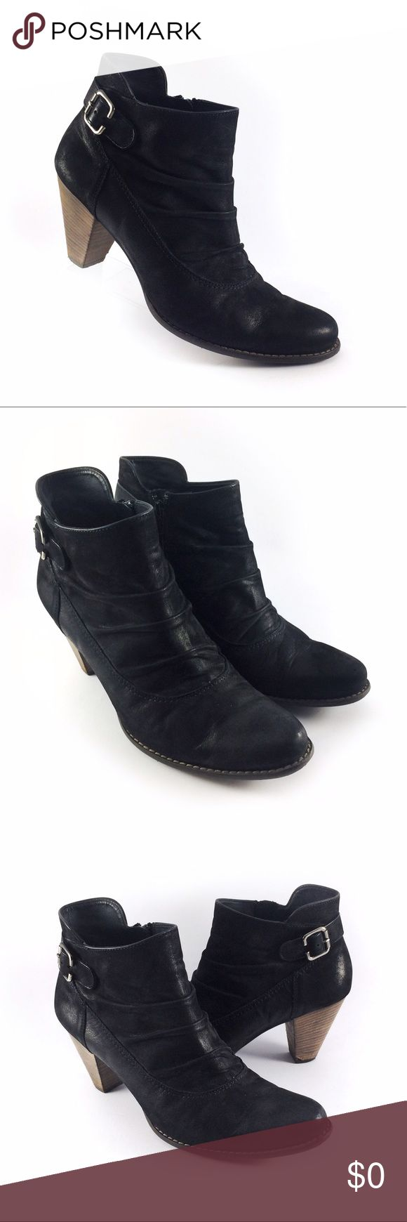 Paul Green Munchen black leather ankle boots. Womens Paul Green Munchen black leather (waxed Suede) side zip tapered ankle boots. Boots feature a layered look and have a stacked wood heel. This item is in great condition and comes from a smoke free home. Paul Green Shoes Ankle Boots & Booties