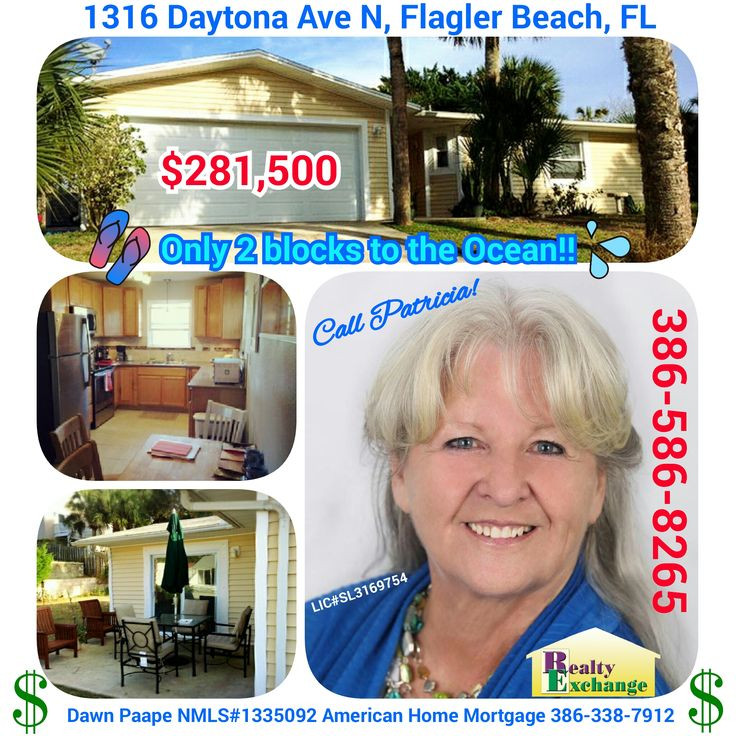 ‪#‎HomeForSale1316‬ Daytona Ave N, ‪#‎FlaglerBeach‬, ‪#‎Florida‬ $281,500! ONLY TWO BLOCKS TO THE ‪#‎OCEAN‬!! Call me for a ‪#‎mortgage‬ pre-approval, 386-338-7912 and then call ‪#‎Realtor‬, Patricia Barton, Realty Exchange LLC, 386-586-8265 for a showing of this home in desirable Flagler Beach!! Fully renovated 2 bed 2 bath Beach Home. NEW Siding, Windows, Kitchen with Granite Countertops, Stainless Steel Appliances, and Tile & Carpet Flooring!! Transferable Termite Bond!!