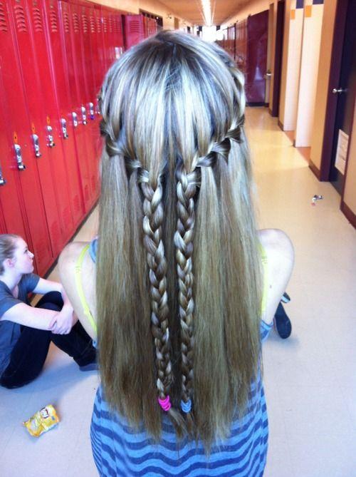 love this!Braids Hairstyles, Everyday Hairstyles, Wavy Hair, Waterfal Braids, Long Hair, Longhair, Hair Style, Waterfall Braids, Hairstyles Ideas