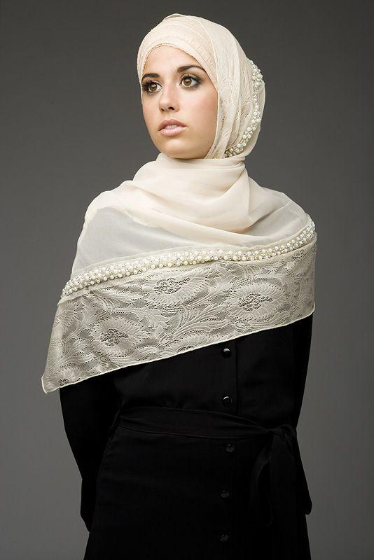 Cream Lace with Pearl Diamonties , Hijab House Online Australian stockist