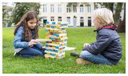 BUITEN SPEEL Wieża JENGA XXL gra ogrodowa Wspaniała zabawa dla wszystkich, którzy uwielbiają tworzyć i budować