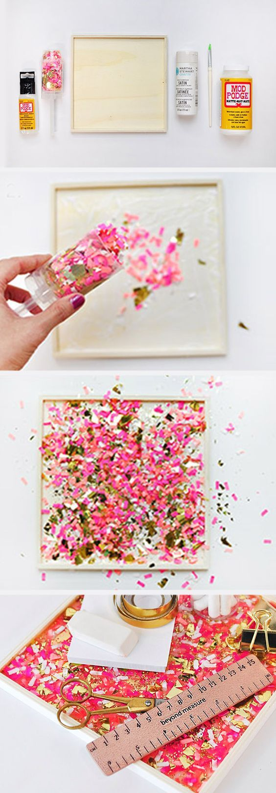 DIY Confetti Tray | 14 Cheap But Cute Dorm Room DIYs | http://www.hercampus.com/diy/decorating/14-cheap-cute-dorm-room-diys