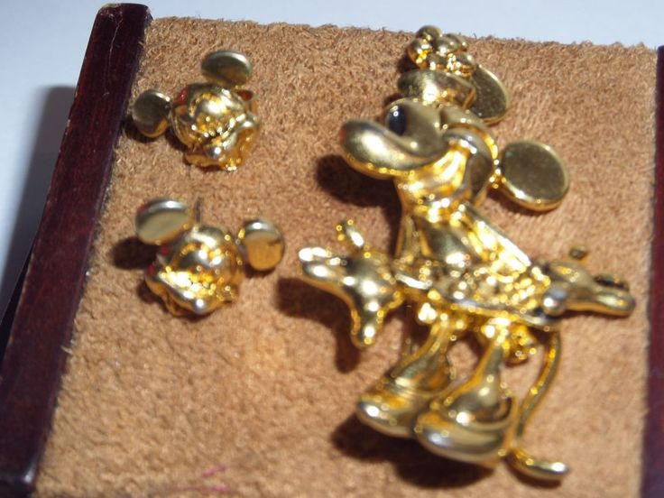 Disney Gold Tone Mickey Mouse Earrings Stud and Napier Minnie Brooch Pin Set | eBay