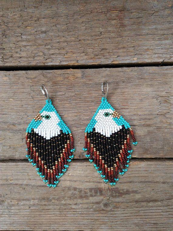 Beaded Eagle Earrings,Boho Tribal Fashion Earrings,Native American Beaded Earrings,Thunderbird Earrings, Tribal Statement Earrings Measurements: Length - 3.9 inh/10 cm Width - 1.5 inh/4 сm Materials: metal ear hooks Czech glass beads Nylon Thread Inspiration : ) •100% handmade.
