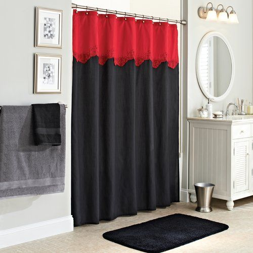 Better Homes and Gardens Gardenia Fabric Shower Curtain, Black/Red