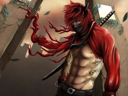 Sexy Anime Male Angel | ... , mask, lone, blue eyes, sword ...