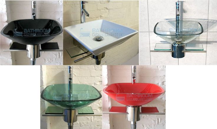 Cloakroom Bathroom Sink Glass Wash Bowl Basin Small. Compact Square Wall Mounted, Tap, Waste & Trap. Eye-catching glass wash bowl basin sink will turn an ordinary cloakroom, en-suite & bathroom into a lavish space with wow factor. | eBay!