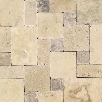 Daltile travertine peruvian cream paredon pattern natural stone floor and wall tile kit 6 sq Natural stone bathroom floor