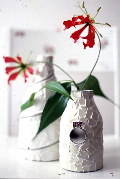 Bottles with mosaic and mirror, Nina Ewald, www.ninaewald.dk