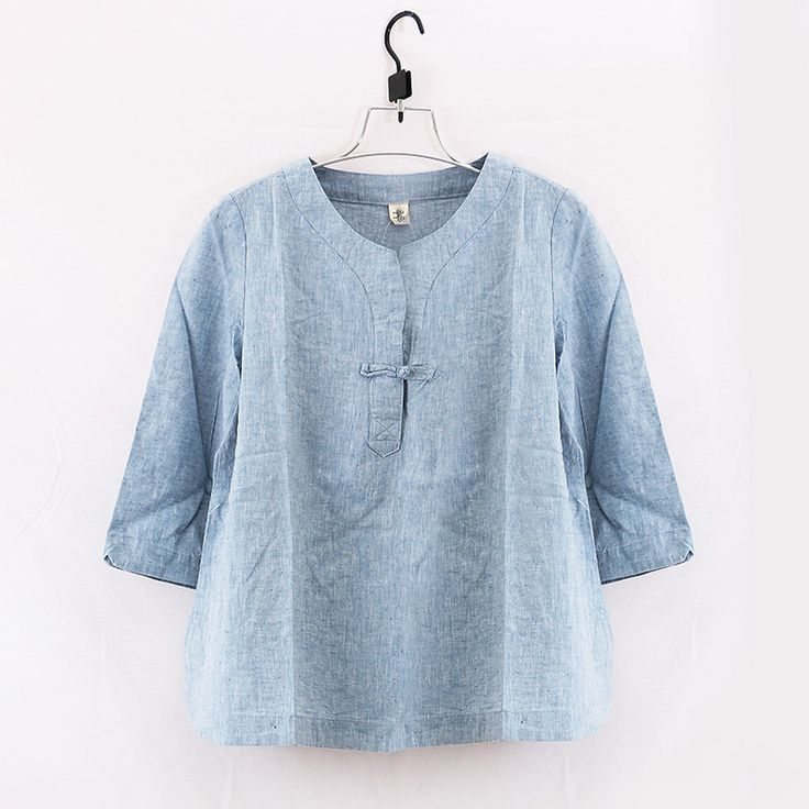 Купить Просто дизайн сплошной цвет одна кнопка хлопок белье женщины широкий рубашка три четверти рукав весна лето удобные свободного покроя блузкаи другие товары категории Блузки и рубашкив магазине JohnatureнаAliExpress. блузка кнопку и льняной тканью