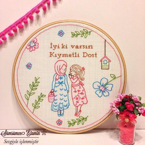 Sümsümce Etamin Mutluluk Panosu, kanaviçe, etamin, dostluk, kardeşlik, hediye, cross stitch, handmade