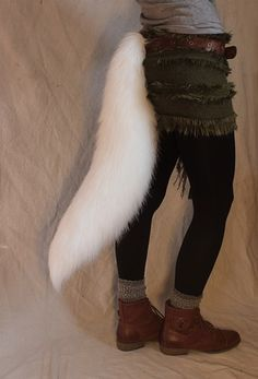 CUSTOMIZABLE White wolf/fox realistic faux fur costume tail | ClockworkCreature - Accessories on ArtFire