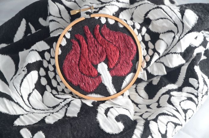 Embroidery in hoop for Fashion Design Challenges www.duellingdesigns.com