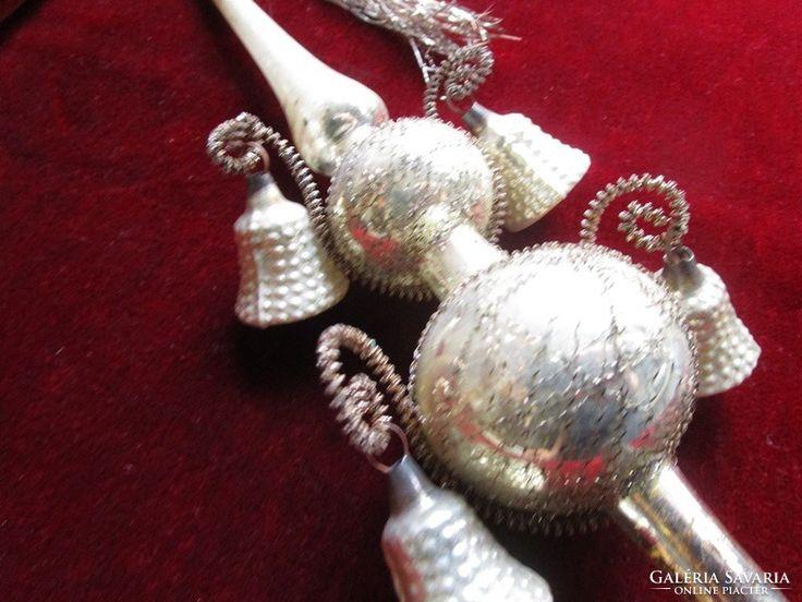 ANTIK üveg karácsonyfadísz ezüst lametta csúcs eredeti doboz