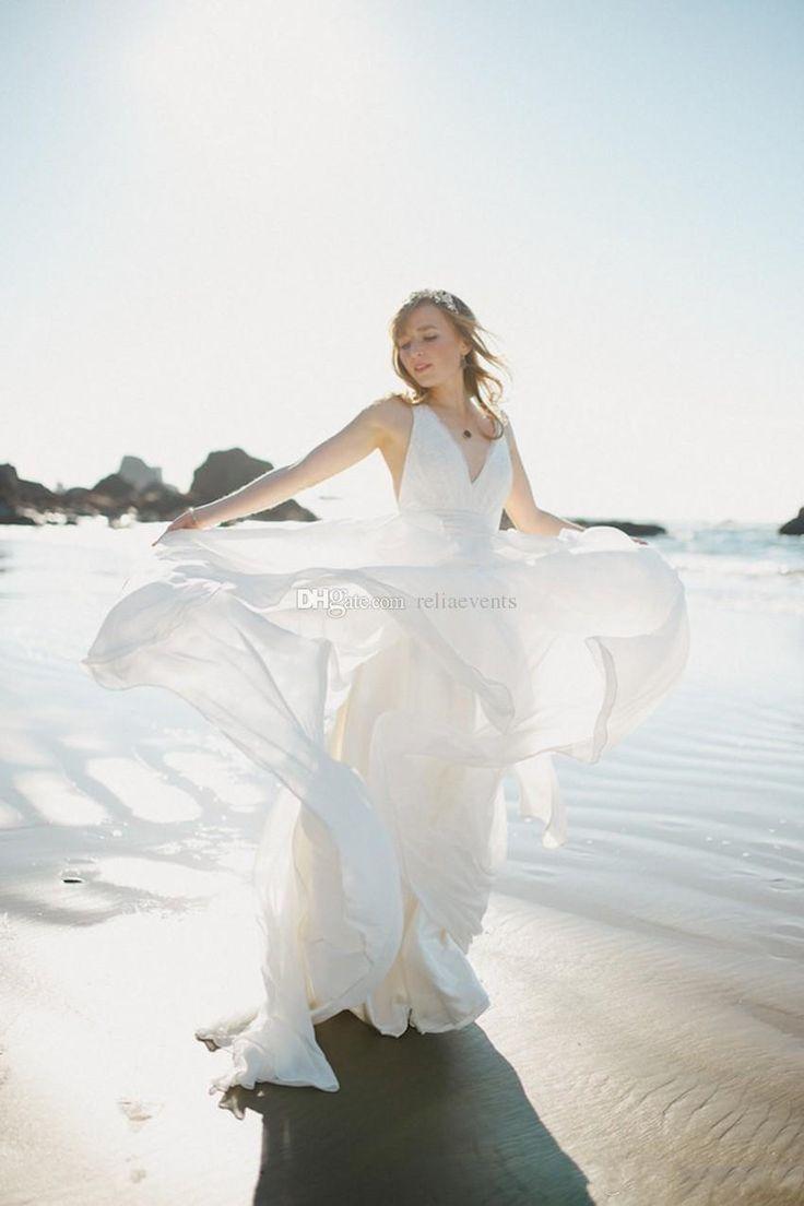 2015 Bohemia Beach Wedding Dresses Lace Bodice Sexy Low Back Chiffon Long A Line Bridal Gowns #dhgatepin
