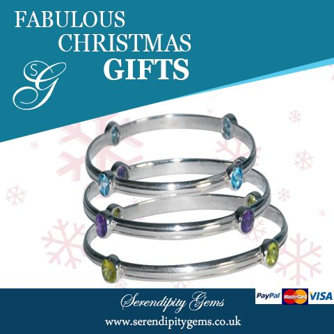 Special Christmas promotion, bangles set with peridot, blue topaz or amethyst. Christmas promotion price £120. Last few available. Buy now from www.serendipitygems.co.uk