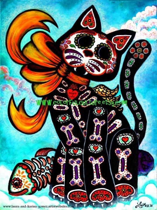 "Bad Luck? My Tail!!- Art Print by Laura Gomez- 8.5"" x 11"" Or 11"" x 17""- Cat - Day of the Dead - Muertos- Mexican Art- From Original painting by ColorfulCulture on Etsy https://www.etsy.com/listing/171046403/bad-luck-my-tail-art-print-by-laura"