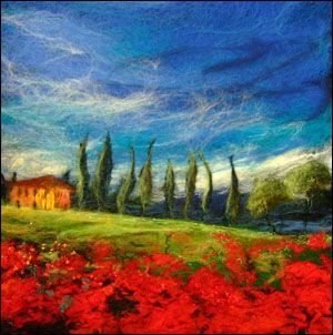 """Moy Mackay, an amazingly talented textile artist from Scotland. Moy's work combines the style and look of impressionist paintings with traditional felting and embroidery techniques. The results, are stunningly colorful textile """"paintings"""" which immediately reminded you of past artists like van Gogh and Monet. Love this Tuscan landscape.."""