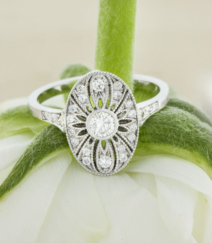 Oval vintage inspired engagement ring