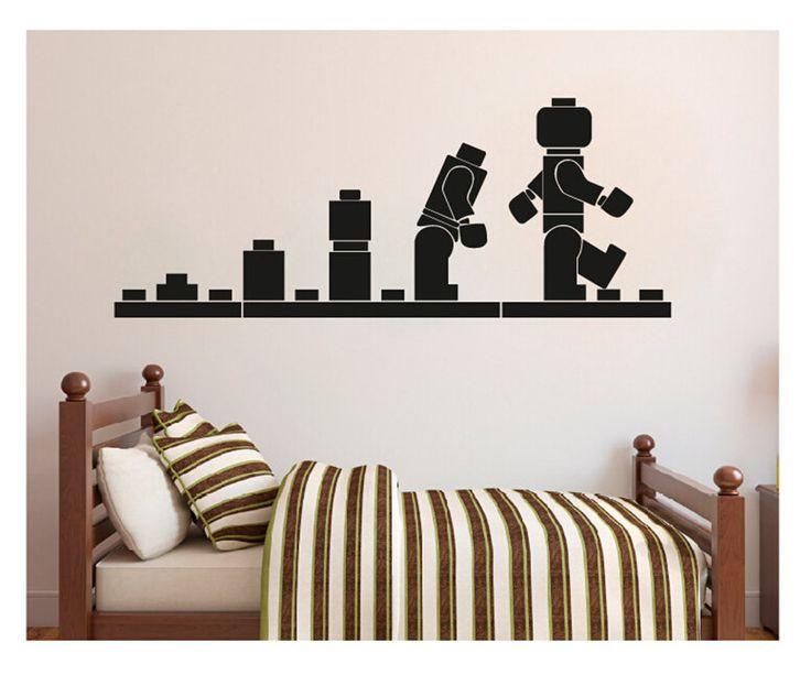 LEGO EVOLUTION WALL Decal,Lego Vinyl Wall Art  Stencil for Kids Room Decor,cartoon nursery wallpaper