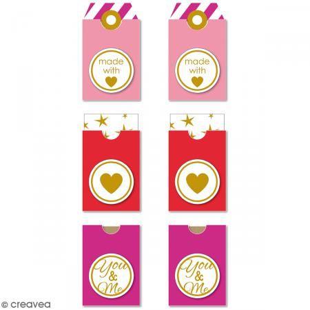 Etiquetas Tag - Made With Love - Rojo, Rosa - 3,2 x 5,3 cm - 6 pcs - Fotografía n°1