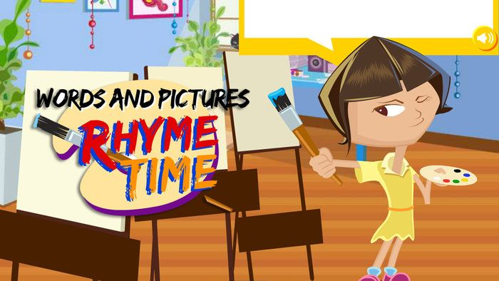 It's rhyme time with Words and Pictures - English (F).Meet Di, an artist who paints rhymes. Help Di paint three pictures by creating some. Choose two words that rhyme, such as 'lizard' and 'wizard'. Select a third word to make a phrase, for example 'a bear under a stair'.  Watch as Di paints a picture of each rhyming phrase, just for you.