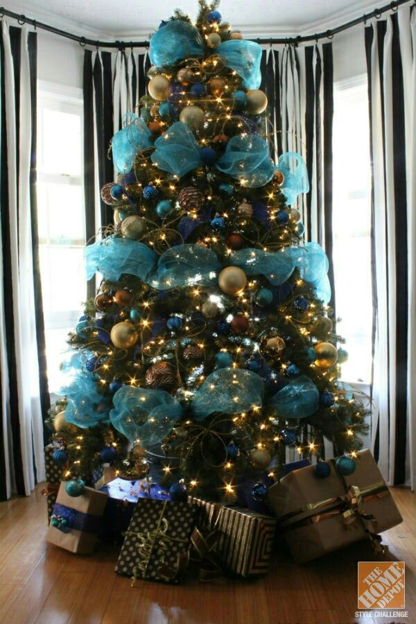 Christmas Tree Decorating Ideas: Turquoise, Blue And Bronze Decorate Tree  With Deco Mesh