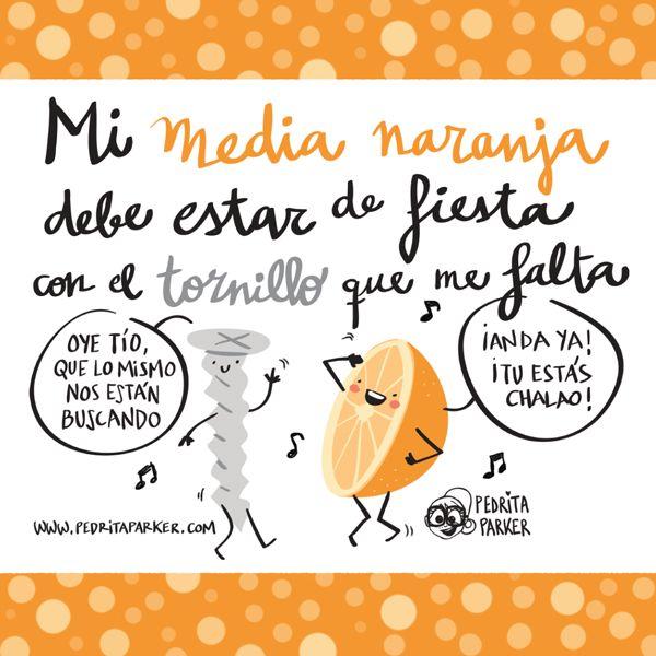 Media naranja y tornillo #pedritaparker #ilustracion #viñeta: