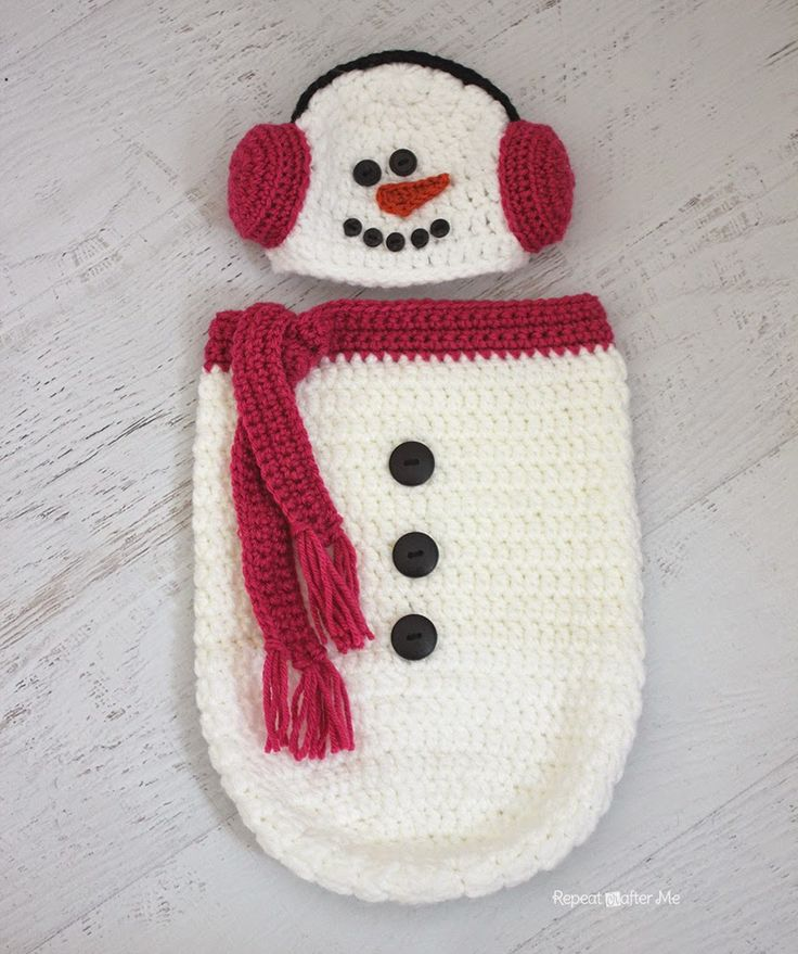 FREE Pattern from Repeat Crafter Me: Crochet Snowman Ear Muff Hat and Cocoon. Soooo Cute!