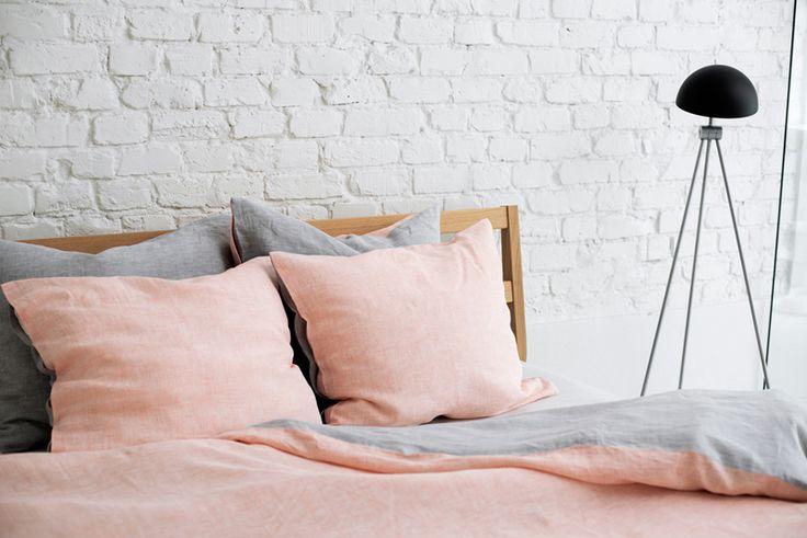 Lniana pościel   SZARA-PEACH   YELEN / Gray-peach bedding 100% linen work