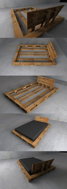 4x Euro Pallet + mattress, nothing else. For 1,4m x 2,0m bed size. Looks really…