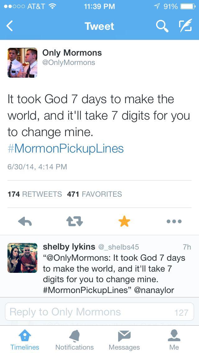 Mormon pickup lines:)