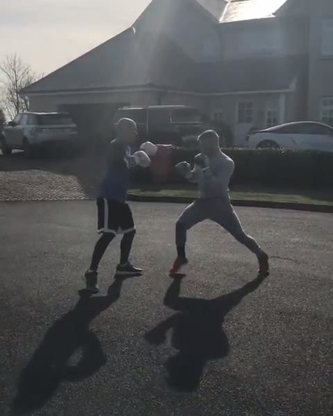 Conor McGregor looks impressive during a boxing session in the streets of Ireland