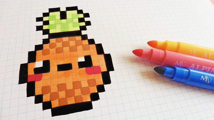 Handmade Pixel Art - How To Draw Kawaii Pineapple #pixelart